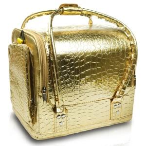 2b4f0dccb947d Luksusowa torba kosmetyczna XL złota skóra węża eko skóra