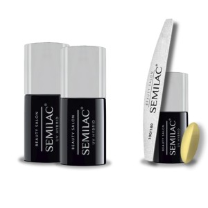 Semilac Beauty Salon PROMOCJA 2+2 = Base 11ml + Top No Wipe 11ml + Lakier hybrydowy 902 Lemon Yellow 7ml + pilnik łódka 180/100