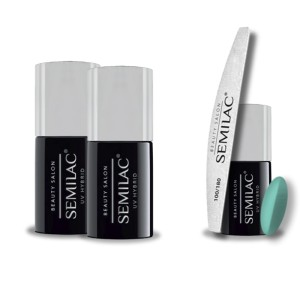 Semilac Beauty Salon PROMOCJA 2+2 = Base 11ml + Top No Wipe 11ml + Lakier hybrydowy 903 Fresh Mint 7ml + pilnik łódka 180/100