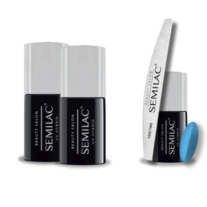 Semilac Beauty Salon PROMOCJA 2+2 = Base 11ml + Top No Wipe 11ml + Lakier hybrydowy 904 Ice Blue 7ml + pilnik łódka 180/100