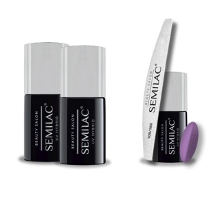 Semilac Beauty Salon PROMOCJA 2+2 = Base 11ml + Top No Wipe 11ml + Lakier hybrydowy 905 Soft Lavender 7ml + pilnik łódka 180/100