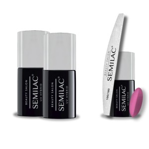 Semilac Beauty Salon PROMOCJA 2+2 = Base 11ml + Top No Wipe 11ml + Lakier hybrydowy 906 Strong Pink 7ml + pilnik łódka 180/100