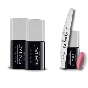 Semilac Beauty Salon PROMOCJA 2+2 = Base 11ml + Top No Wipe 11ml + Lakier hybrydowy 907 Coral Pink 7ml + pilnik łódka 180/100