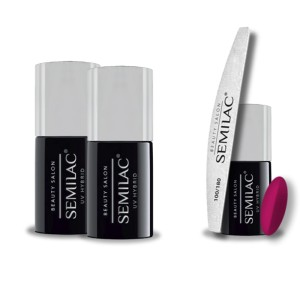 Semilac Beauty Salon PROMOCJA 2+2 = Base 11ml + Top No Wipe 11ml + Lakier hybrydowy 909 Cherry Red 7ml + pilnik łódka 180/100