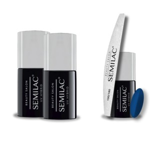 Semilac Beauty Salon PROMOCJA 2+2 = Base 11ml + Top No Wipe 11ml + Lakier hybrydowy 911 Blueberry Blue 7ml + pilnik łódka 180/100