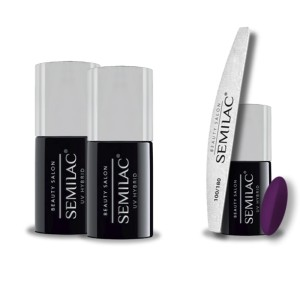 Semilac Beauty Salon PROMOCJA 2+2 = Base 11ml + Top No Wipe 11ml + Lakier hybrydowy 916 Deep Plum 7ml + pilnik łódka 180/100