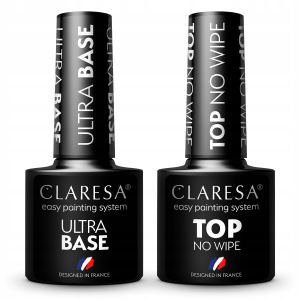 2x Claresa lakiery hybrydowe TOP NO WIPE 5g + ULTRA BASE 5g